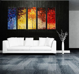 Wholesale Huge Abstract Wall Paintings - Free shipping,30x80cmx5p,Huge art WALL on Canvas Modern Abstract Phoenix decorative handpainted Oil Painting,CX5024