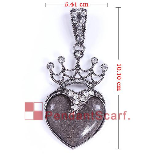 12 ADET / GRUP Yeni Tasarım 4 Renkler Karışık DIY Kolye Eşarp Aksesuarları Metal Rhinestone Kraliyet Taç Reçine Kalp Kolye, Ücretsiz Kargo, AC0274MIX