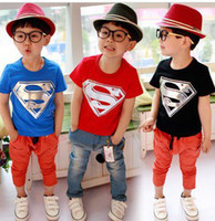 Wholesale Boys Short Sleeve Superman Top - KID TSHIRT children summer leisure clothing wholesale boy baby superman short sleeve t shirt kids tops tees 5pcs lot