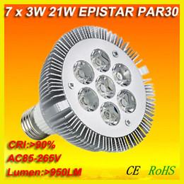 Wholesale High Power E27 21w - free shipping 4X high lumen 1000lm dimmable 7X3W E27 led Par30 Par 30 LED SpotLight Lamp Bulbs Cool White|Warm White 100V-240V