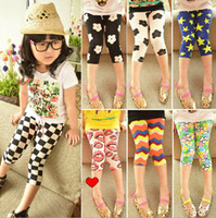 Wholesale Lace Cropped Leggings - Wholesale -New Arrival Summer Children's Leggings Kids Leggings Printed Leggings Baby Girls Colorful Pattern Skinny Cropped Pants 5p l