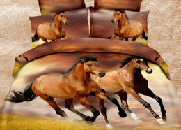 $enCountryForm.capitalKeyWord Canada - ywxuege Wholesale - Promotion Print 3D horse 4Pcs bedding set luxury include Duvet Cover Bed sheet Pillowcase Queen size Free shipping