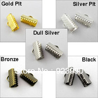 Wholesale End Tip Bead Caps - Free Shipping 100Pcs Over Clip Tips Cord Crimp Ends Bead Cap Gold Silver Bronze Black Plt 8x7.5mm For Jewelry Making Craft DIY