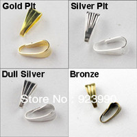 Wholesale Clip Bails - Free Shipping 500Pcs Necklace Connector Clip Bail Gold Silver Bronze Dull Silver Plated 3x7mm For Jewelry Making Craft DIY w02924