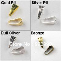 joyería aburrida al por mayor-Envío Gratis 500 Unids Collar Conector Clip Bail Oro Plata Bronce Dull Silver Plated 3x7mm Para Hacer Joyería Craft DIY w02924