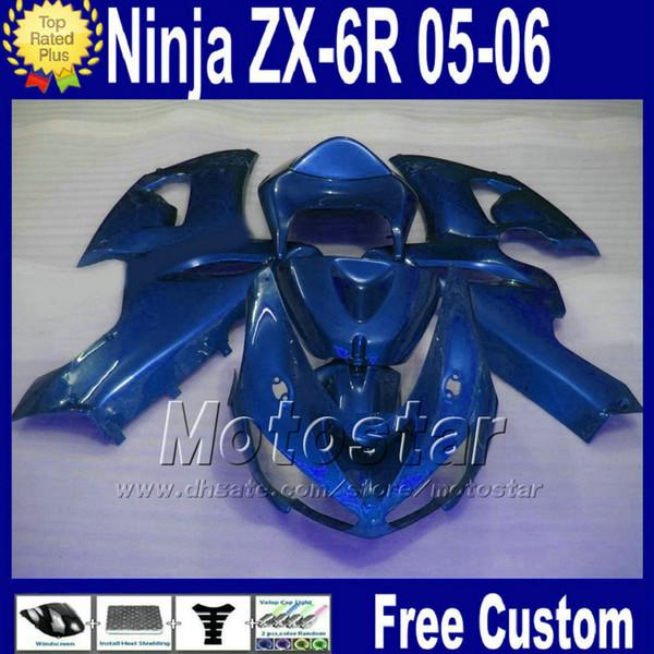ABS fairing kit for Kawasaki Ninja ZX6R 636 2005 2006 ZX 6R all blue motorcycle fairings 05 06 ZX-6R zx636 +Free Seat cowl