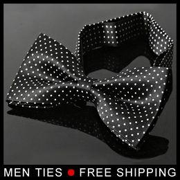 Wholesale Hot Women Tuxedo - NEW Arrival Hot Sale Men Imitation Silk Tuxedo Adjustable Neck Bowtie Bow Tie with Dot Drop shipping Free Shipping
