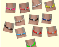 Wholesale Neon Crystal Bracelets - Anti-fatigue PU Leather Crystal Ball Shamballa Magnetic Clasp Bracelet Cuff Fluorescence Neon Color Clasp Bracelet Bangle Cuff Mix Colours