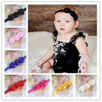 Wholesale Triple Rose Baby Headbands - Infant Triple Rose Flower Headbands Girl Elastic Headband Baby Hair Accessories Newborn Chiffon Rose Flower Hairbands For Photography Props