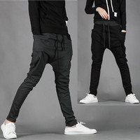 Wholesale Casual Baggy Trousers Men - free shipping new korea baggy cargo harem pants men sports overalls casual trousers Black Dark gray M L XL XXL