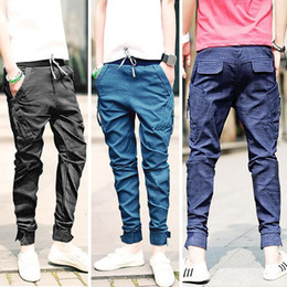 Wholesale Jeans Casual Trousers Overalls - Free shipping New Korea Men's Baggy Cargo Harem trousers Men Jeans overalls casual Trousers 3 colors available Size M L XL XXL