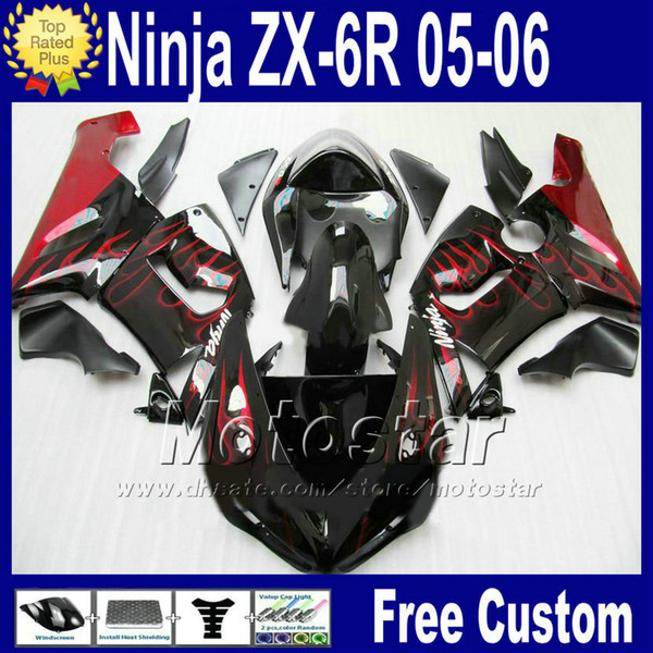 ABS bodywork Free Seat cowl for ZX-6R 05 06 Kawasaki Ninja fairing ZX6R 636 ZX636 red flame black fairings kit Q73 2005 2006 ZX 6R +7 Gifts