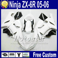 Wholesale Kawasaki Ninja 636 Fairings - ABS bodywork Free Seat cowl for ZX-6R 05 06 Kawasaki Ninja fairing ZX6R 636 ZX636 white black race fairings kit Q76 2005 2006 ZX 6R +7 Gifts