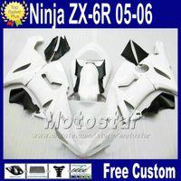 ingrosso dono gratuito kawasaki-Carrozzeria ABS Carrozzeria Seat per ZX-6R 05 06 Carenatura Kawasaki Ninja Carrozzeria ZX6R 636 ZX636 bianco nero carene Q76 2005 2006 ZX 6R +7 Regali
