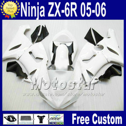 Wholesale Racing Seats Black - ABS bodywork Free Seat cowl for ZX-6R 05 06 Kawasaki Ninja fairing ZX6R 636 ZX636 white black race fairings kit Q76 2005 2006 ZX 6R +7 Gifts