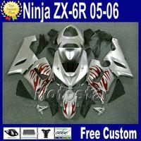 Wholesale kawasaki ninja 636 cowl resale online - Bodywork Free Seat cowl for ZX R Kawasaki Ninja fairing ZX6R ZX636 ZX R red flame silver fairings kit Q82