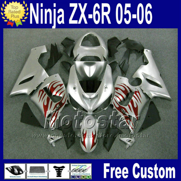 Bodywork Free Seat cowl for ZX-6R 05 06 Kawasaki Ninja fairing ZX6R 636 ZX636 2005 2006 ZX 6R red flame silver fairings kit Q82