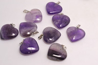 Wholesale Loose Gemstones Beads Wholesale - Lots wholesale jewelry Cue Heart Naturl Amethyst Gemstone Loose Beads Silver Plated Hook Fit Bracelets and Necklace DIY #B96