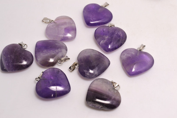 best selling Lots wholesale jewelry Cue Heart Naturl Amethyst Gemstone Loose Beads Silver Plated Hook Fit Bracelets and Necklace DIY #B96