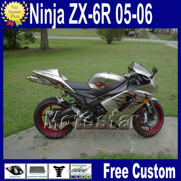 Fairing kit for Kawasaki Ninja ZX6R 636 2005 2006 ZX 6R freeship silver red bodywork fairings 05 06 ZX-6R Free Seat cowl Q93