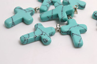 Wholesale Turquoise Cross Beads Wholesale - Lots Jewelry TURQUOISE GEMSTONE Cross Pendants Loose Beads Silver Plated Hook Fit Bracelets and Necklace DIY #B97