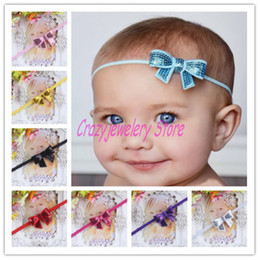 Wholesale Thin Hairbands - Infant Shine Bow Flower Headbands Girl Elastic Thin Headband Baby Hair Accessories Newborn Flower Thin Hairbands For Photography Props