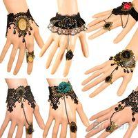 Wholesale Vintage Finger Ring Bracelet - Hot Selling Fashion Vintage Lady Handmade Jewelry Gothic Lace Flower Finger Ring Charm Bracelet With Gemstone