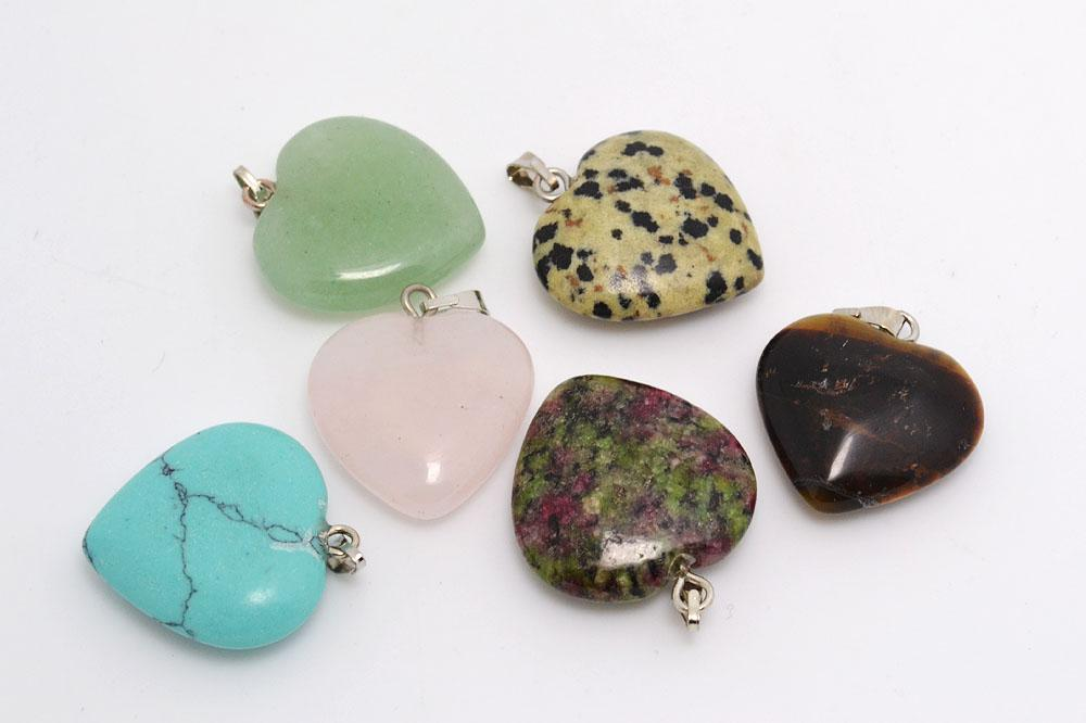 Natural Stone Pendants Jewelry heart natural stone gemstone pendants high polished loose jewelry heart natural stone gemstone pendants high polished loose beads silver plated hook fit bracelets and necklace diy b79 jewelry pendants naturl audiocablefo