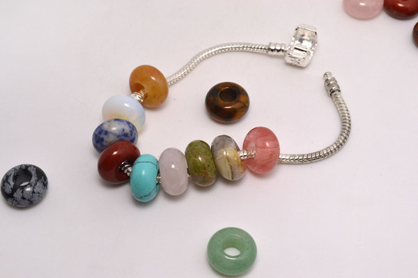 top popular Lots Jewelry natural Stone Gemstone Round Beads High Polished Loose Beads 5mm Big Hole Fit Charms European Bracelet DIY #B109 2020