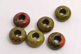 Wholesale Unakite Loose Beads - Lots Jewelry natural Unakite Gemstone Round Beads High Polished Loose Beads 5mm Big Hole Fit Charms European Bracelet DIY #B102