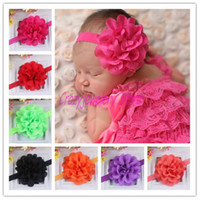 Wholesale Eyelet Flowers - Newborn Infant Headbands With Eyelet Flower Kids Elastic Headband Baby Hair Accessories Newborn Eyelet Flower Hairbands Girl Headwear 20pcs