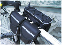 Wholesale Bike Bicycle Cycling Double Bag - 3 clor mountain Bike Frame bag,Front Tube Double Side Bag,Cycling bicycle bag have rain cover and Straps,22*7.5*14.5cm,220g
