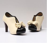 Wholesale Heel Pumps China - Sexy Lady Beige Bow Pump Platform Women High Heel Shoes China Post
