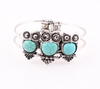 Wholesale Owl Silver Cuff Bracelet - Tibetan Silver Crystal Turquoise Owl Bracelet Bangle Turquoise Cuff Bracelet Jewelry for Women Wholesale ZB75
