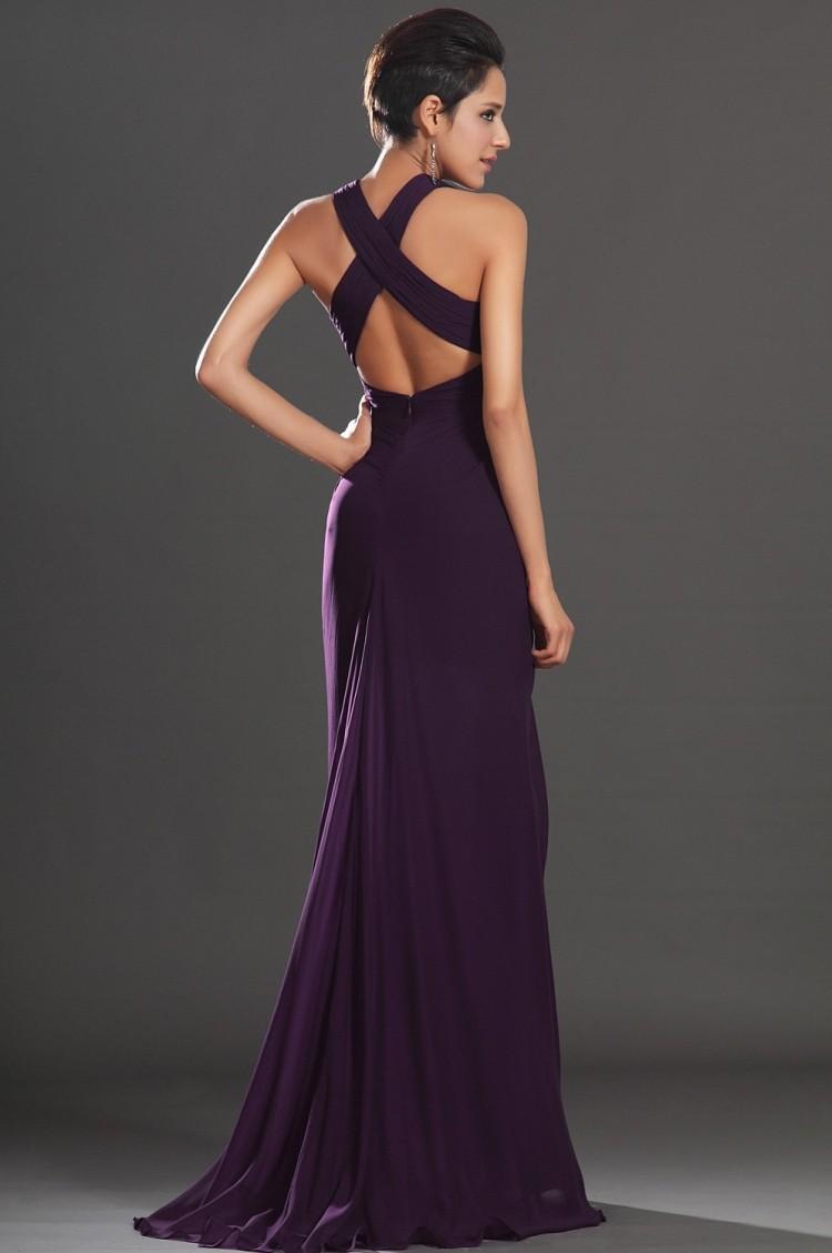 2015 Sexy Deep V Neck Long Chiffon Bridesmaid Dresses Dark Purple ...
