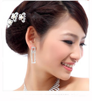 Wholesale Hair Pins Wedding Butterfly - Shinning ABS Peral Rhinestones Butterfly Hair Jewelry Wedding Dress Accessories Bridal Jewelry Supplies 10pcs lot XN0318
