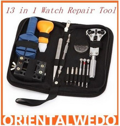 Wholesale Piece Screwdriver - Free Shipping 100% Brand New 13 piece Watch Repair Tool Kit Zip Case Battery Opener Holder Link Remover Screwdrivers Punch Tool