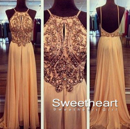 Wholesale Dresses Prom Boutique - 2015 Sexy Back Prom Dresses Spaghetti Backless Beaded Crystal Chiffon A Line Maxi Long Evening Gowns Party Dress Boutique Custom Made