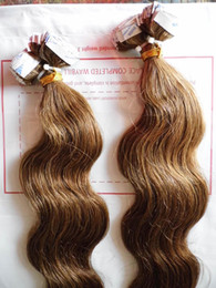 "Wholesale Brown Wavy Hair Extensions - MIRACLE 100g 18"" - 24"" brown #8 wavy Indian remy hair PU tape Skin Weft Tape in Hair Extensions STOCK"