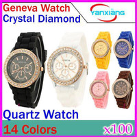 Wholesale Classic Gel Crystal Watch - DHL 100 pcs Fashion geneva diamond silica jelly watches Ladies Watch Classic Gel Crystal Silicone Jelly watch RW-WT-04