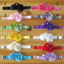 Wholesale Rose Hair Colour - Infant Baby Hair Accessories Rose Flower Pearl Combination Girls Hair Band Kids Headband Babies Toddler Head Band Mix Colour 50pcs lot