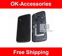 Wholesale Lg Nexus Housing - Black Color For LG Google Nexus 4 E960 Original Back Housing Rear Battery Door Cover With NFC 1PC Lot Free Shipping