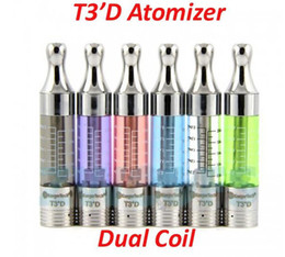 Wholesale Ego Starter Bottom - 2.5ml T3'D Atomizer T3D Dual Coil Bottom Heating Coil Clearomizer for 510 eGo Starter Kit Battery 7 Colors