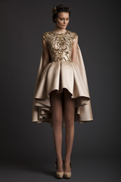 Wholesale Crystal Ss14 - Krikor Jabotian SS14 2014 Evening Dresses Satin A-Line Crew Celebrity Dress Appliques Pleats Sleeveless Hi-Lo Prom Gowns