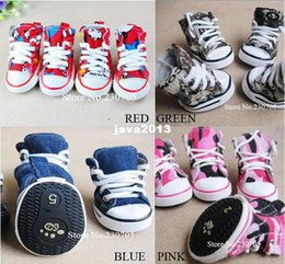 Wholesale Dog Denim - High Quality 4pcs lot Pet Dog Cat Footwear, Dog Walking Sneaker Shoes, Anti-skidding Camouflage Denim Canvas Shoes Free Shipping