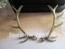 Wholesale Antler Charms - Free shipping Wholesale Mixe color Fashion deer antlers Pendant charm, gold and antique bronze color 18mmx60mm 40pcs lot