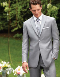 light pink grey groomsmen suits 2019 - Custom Made Two Buttons Light Grey Groom Tuxedos Notch Lapel Best Man Suits Groomsmen Men Wedding Suits (Jacket+Pants+Ve