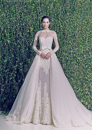 Wholesale New Arrival Zuhair - 2014 New Arrival Sheer Long Sleeves Zuhair Murad Wedding Dresses Wedding Gowns with Detachable Skirt
