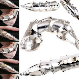 Wholesale Alloy Armor - Wholesale Jewelry 12pcs Lots Gothic Retro Punk Devil Armor Joint Knuckle Rings[VRA82*12]