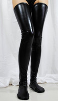 Woman black rock stock - Sexy Black Red Womens Black Stocking Spandex Thigh High Latex Glam Rock Gothic Wetlook Fetish Stocking S7796 Dropshipping